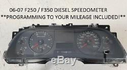 06-07 Ford Super Duty Diesel Speedometer Instrument Cluster PROGRAMMED MILES