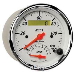 Autometer Arctic White 3-3/8 Dual Gauge Tachometer 0-8000 RPM/Speedo 120 MPH