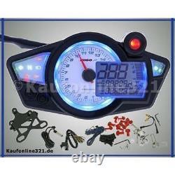 Cockpit Tachometer Drehzahlmesser KOSO RX1N+ Tacho NEU weiß digital Motorrad BA