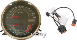 Drag Specialties KM/H Speedometer Speedo Tach & Harness for 96-03 Harley Softai
