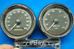 Genuine Harley Sportster Dyna 4 Speedometer Speedo Tach & Mount 95-98 miles