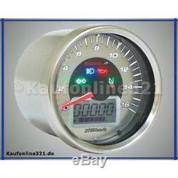 Koso D64 Chrome Style Tachometer Signalleuchten 160 kmh NEU Motorrad Roller