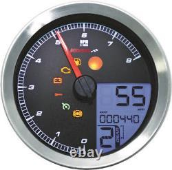 Koso LCD Color Change Speedo & Tachometer Silver Bezel BA051201 48-2346