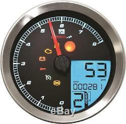 Koso LCD Color Change Speedo & Tachometer Silver Bezel Ba051201