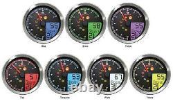 Koso North America BA051211 LCD Color Change Speedo And Tachometer Black Bezel