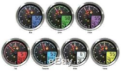 Koso North America BA051231 LCD Color Change Speedo And Tachometer Black Bezel