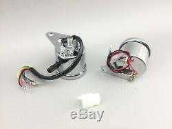 Motorrad Mini Tachometer Speedometer Tacho Drehzahlmesser Set rev counter chrome