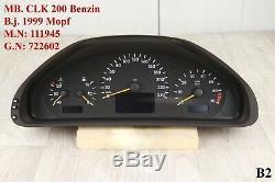 Tacho Mercedes CLK 200 W208 Mopf Kombiinstrument Automatik 97216 KM A2085403511