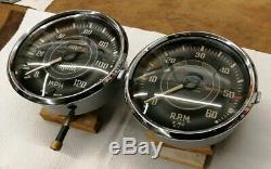 Triumph Tr2 Tr3 Jaeger Speedometer MPH & Tachometer RPM Gauge Domed Glass