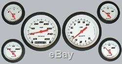 Velocity White Series 6 Gauge Set 3-3/8 MPH Speedo Tach Sending Units VS01WBLF