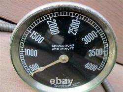 Vintage Corbin Screw Corp 4,000 RPM Tachometer & Cable Motorcycle Car Industrial